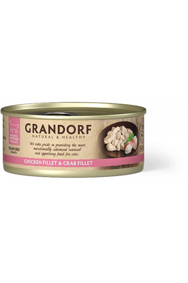 Grandorf Chicken Breast & Crab Fillet Karma Dla Kota Filet z Piersi Kurczaka i Kraba 70 g