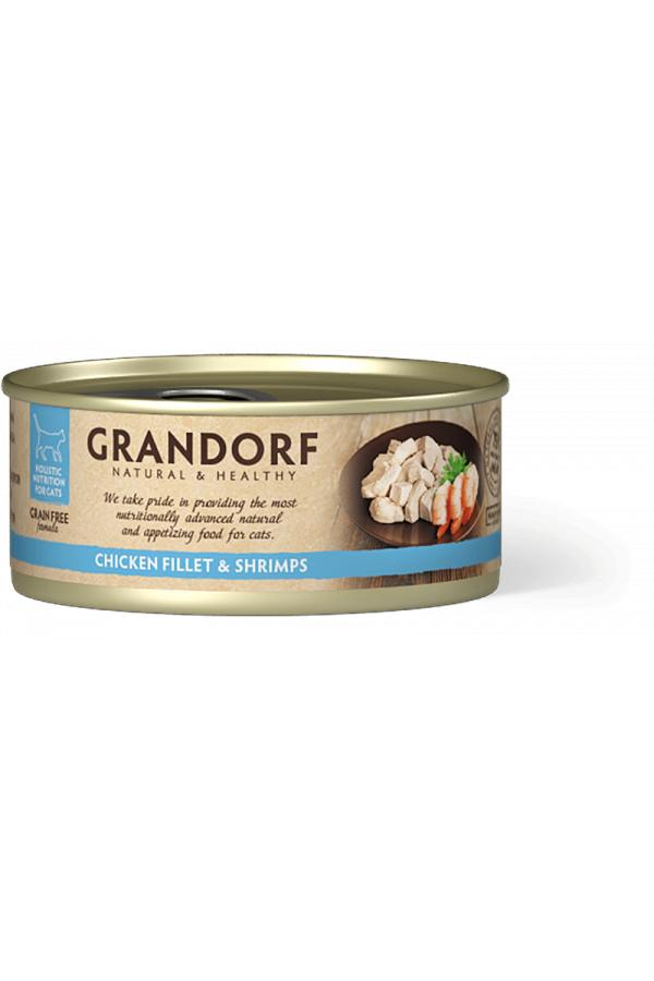 Grandorf Chicken Breast & Shrimps Karma Dla Kotów Filet z Piersi Kurczaka z Krewetkami 70 g