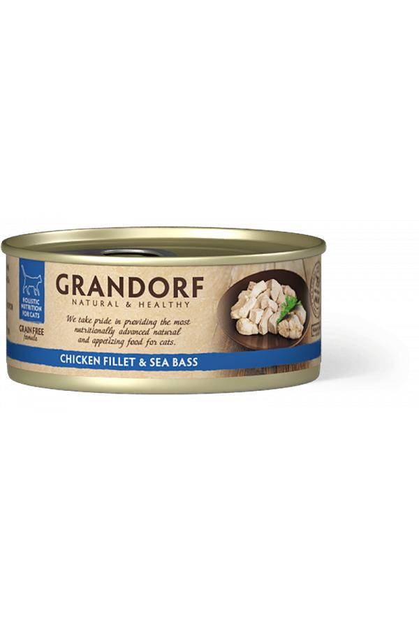 Grandorf Chicken Breast & Sea Bass Karma Dla Kota Filet z Piersi Kurczaka i Okonia Morskiego 70 g