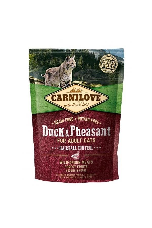 Brit Carnilove Hairball Control Odkłaczanie Duck & Pheasant Kaczka Bażant Adult Cats 400 g