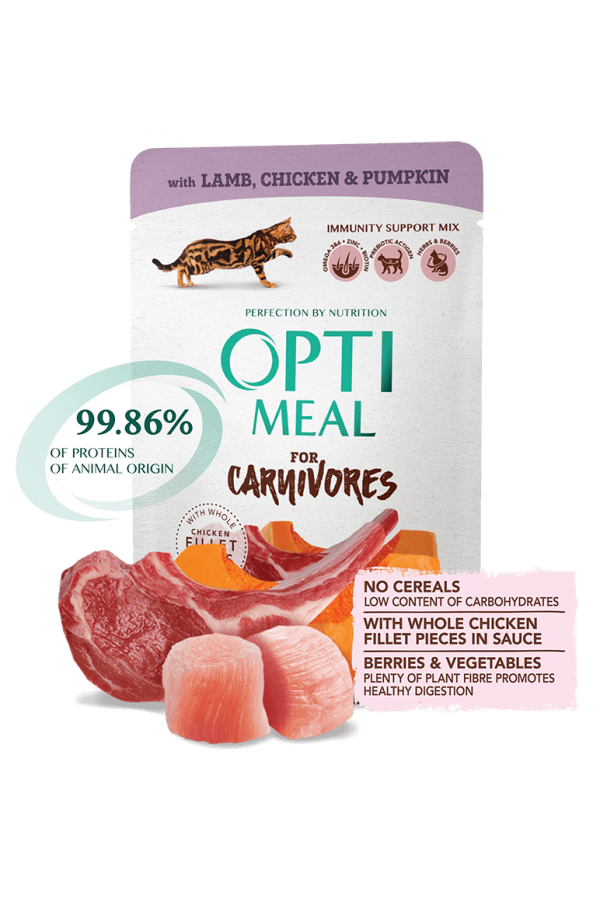 Optimeal For Carnivores z Jagnięciną, Kurczakiem i Dynią w Galaretce Bezzbożowa 85 g